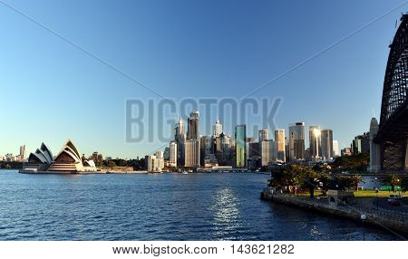Sydney, Australia - Aug 21, 2016. Opera House and Harbour Bridge from Kirribilli.