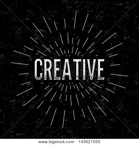 Abstract vector design layout with text - creative. Vintage concept background, art template, retro elements, logo, labels, layout, badge, old banner, card. Hand made typography word.