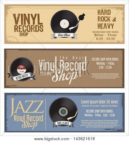 Vinyl Record Shop Retro Grunge Banner 3.eps