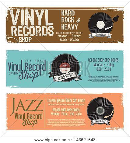 Vinyl Record Shop Retro Grunge Banner 2.eps