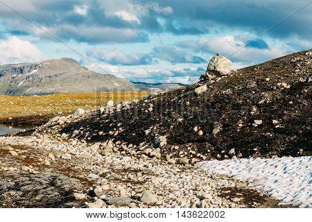Norway Nature Landscape, Norwegian Mountains Under Sunny Blue Sky