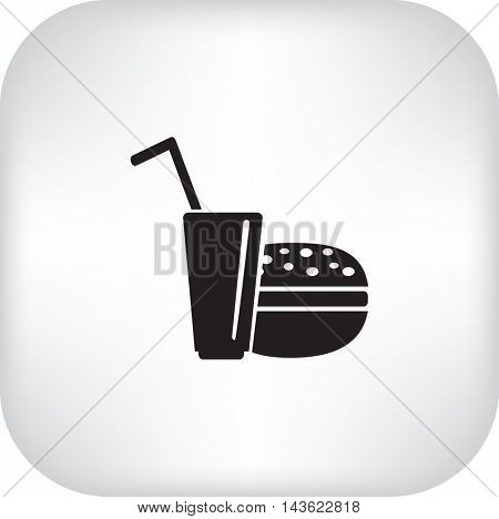 Flat icon. Drink with a straw and a hamburger. Food and drink.