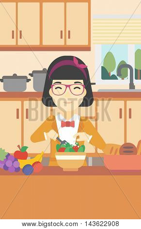 An asian young woman cooking vegetable salad on the background of kitchen. Smiling woman adding spices in salad. Vector flat design illustration. Vertical layout.