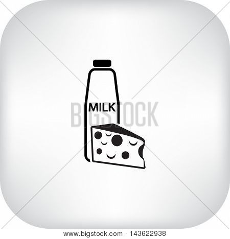 Flat icon. Milk and cheese. Dairy.