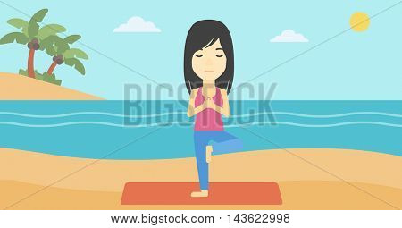 An asian young woman standing in yoga tree position. Woman meditating in yoga tree position on the beach. Man doing yoga on nature. Vector flat design illustration. Horizontal layout