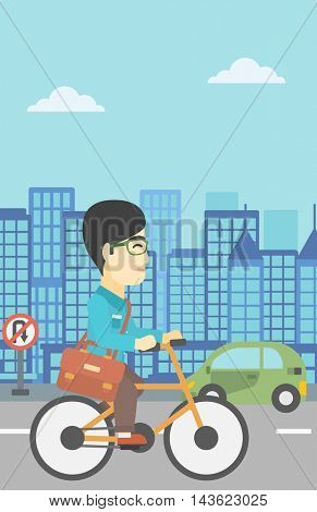 An asian young man riding a bicycle. Cyclist riding bike on city background. Businessman with briefcase on a bike. Healthy lifestyle concept. Vector flat design illustration. Vertical layout.