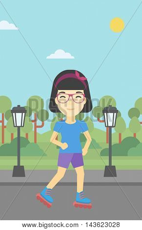 An asian young woman on roller-skates in the park. Full length of sports woman in protective sportwear on rollers skating outdoors. Vector flat design illustration. Vertical layout.