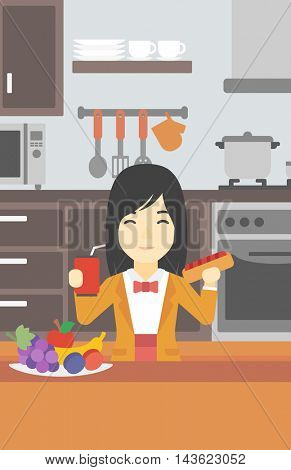 An asian woman eating fast food. Woman holding fast food in hands in the kitchen. Woman choosing between fast food and healthy food. Vector flat design illustration. Vertical layout.