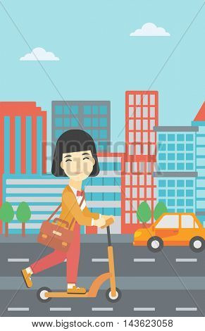 An asian young woman riding a kick scooter. Business woman with briefcase riding to work on scooter. Woman on kick scooter in the city street. Vector flat design illustration. Vertical layout.