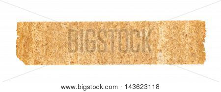 Single crispy rectangle shaped brown bread chips isolated over the white background