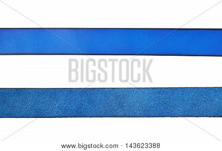 Close-up crop fragment of a strip of a blue leather belt isolated over the white background, set of two different foreshortenings