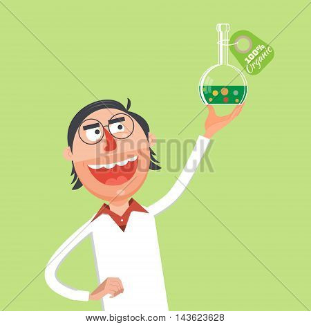 Scientist performing an experiment in chemical lab flat style. Cartoon colorful vector illustration