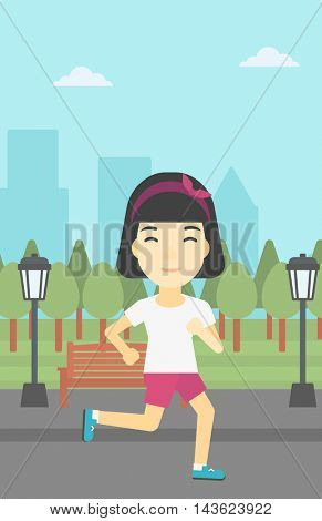 An asian young woman running. Female sportive runner jogging outdoors. Sports woman running in the park. Running woman on forest road. Vector flat design illustration. Vertical layout.