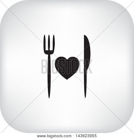 Flat icon. Fork and knife. Cooked with love.