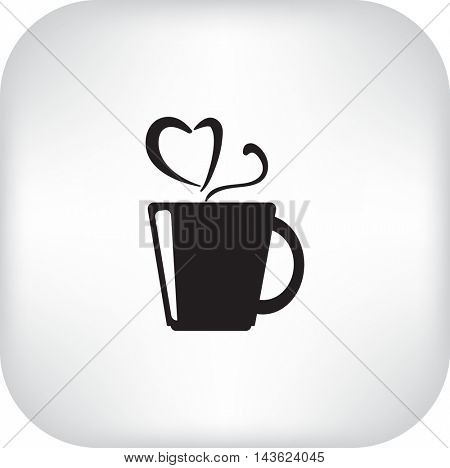 Flat icon. A cup with a hot drink. Tea or coffee.