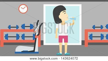 An asian young woman drinking water. Sportive woman with bottle of water in the gym. Young sports woman drinking water from the bottle. Vector flat design illustration. Horizontal layout
