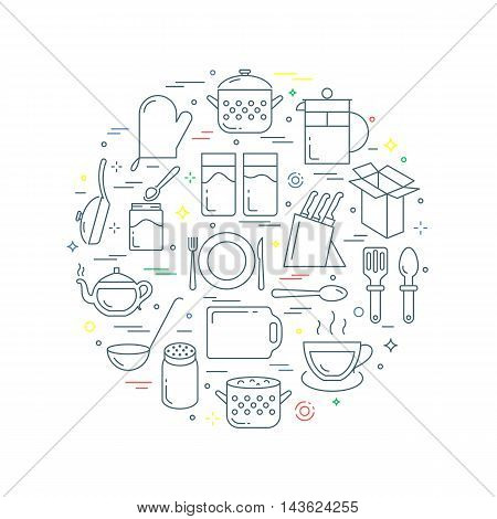 Kitchenware and utensil abstract vector illustration line style