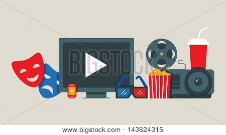 Cinema, movie concept vector illustration flat style