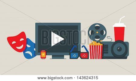 Cinema, movie concept vector illustration flat style