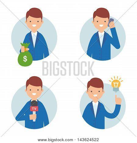 Businessman vector icons set flat style, business concept