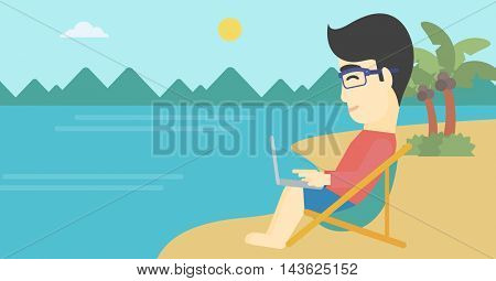 An asian young businessman working on the beach. Businessman sitting in chaise lounge and working on a laptop. Vector flat design illustration. Horizontal layout