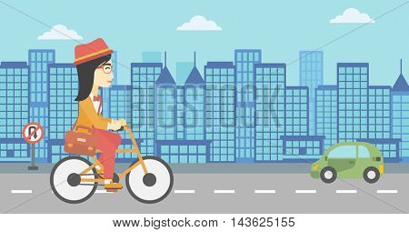 An asian young woman riding a bicycle. Cyclist riding bike on city background. Business woman with briefcase on a bike. Healthy lifestyle concept. Vector flat design illustration. Horizontal layout