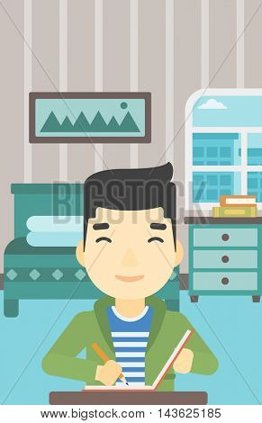 An asian journalist sitting at the table and writing in notebook with pencil. Journalist writing notes on the background of bedroom . Vector flat design illustration. Vertical layout.