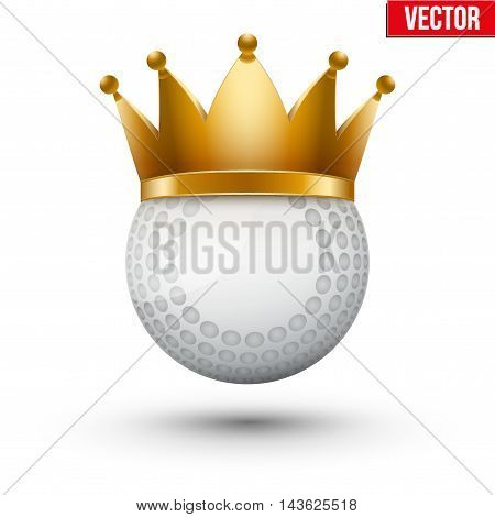 Hockey field ball with royal crown. King of sport. Traditional form and color. Isolated Realistic Vector illustration.