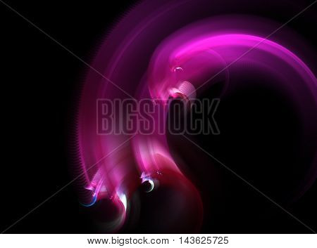 Abstract fractal pink hydra computer generated image on black background