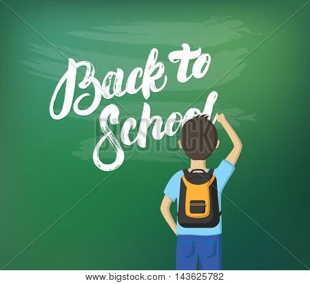 Back to school hand written calligraphy lettering with schoolboy for banner, card, web. Boy written on chalcboard. Vector illustration.