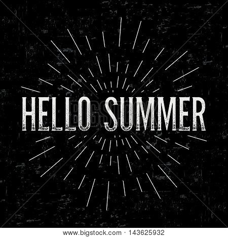Abstract creative vector design layout with text - hello summer. Vintage concept background, art template, retro elements, logo, labels, layout, badge, old banner, card. Hand made typography word.
