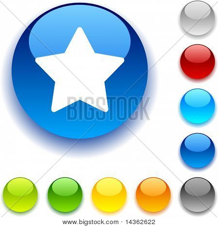 Star shiny button. Vector illustration