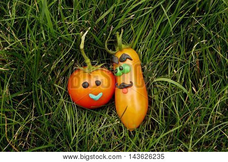 A fun pair of fresh red tomatoes on green grass