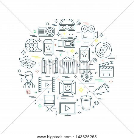 Cinema abstract concept vector illustration line style