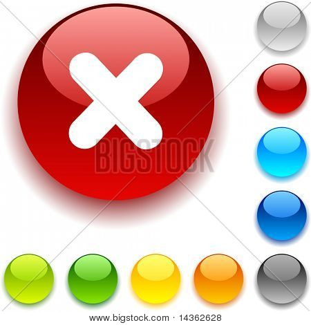 Cross  shiny button. Vector illustration