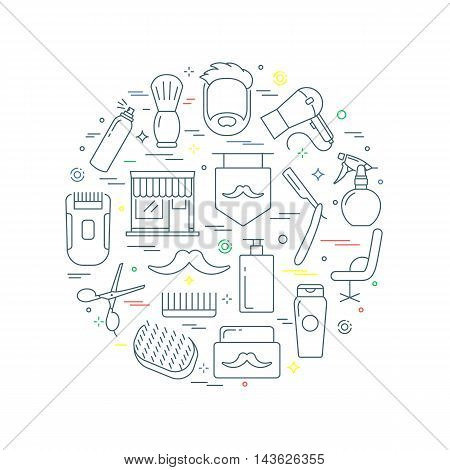 Barber abstract concept vector illustration line style