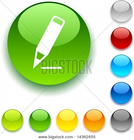 Pencil  shiny button. Vector illustration.
