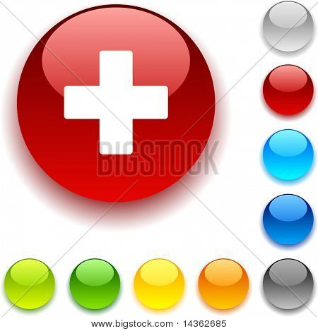 Switzerland shiny button. Vector illustration.