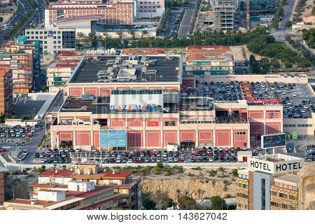 Alicante, Spain - SEPTEMBER 2015: View of the city. Plaza Mar Mall