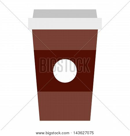 Brown Paper cup of coffee icon in flat style on a white background