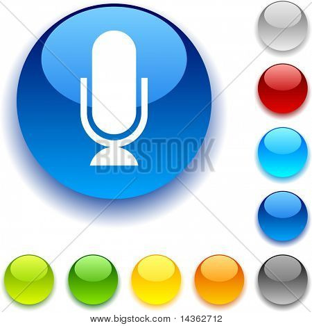 Mic shiny button. Vector illustration.