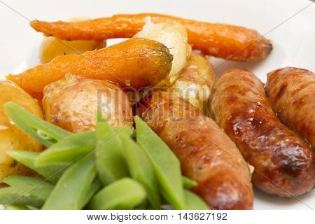Sausage casserole  A traditional British meal of a sausage casserole