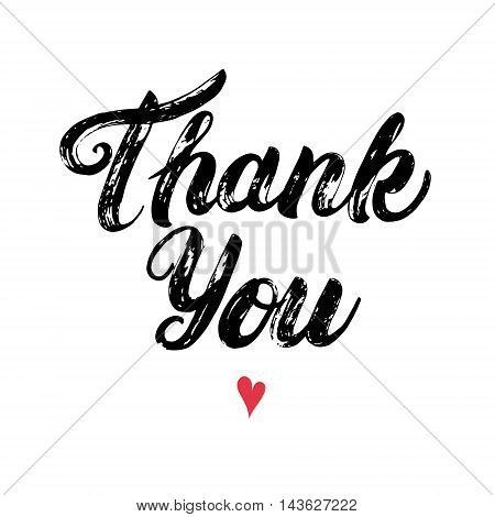Thank you hand written calligraphy with heart. Brush pen lettering isolated on white background. Brush texture. Vector illustration.