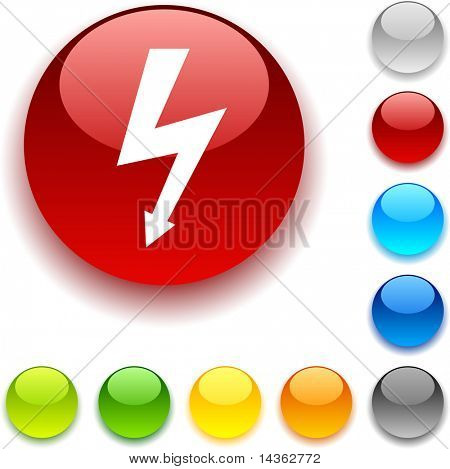 warning shiny button. Vector illustration.