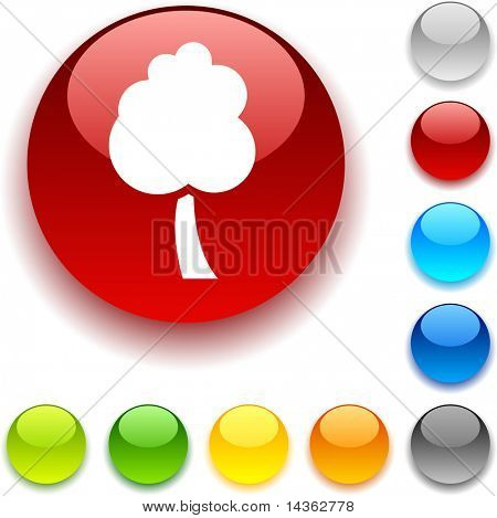 tree shiny button. Vector illustration.