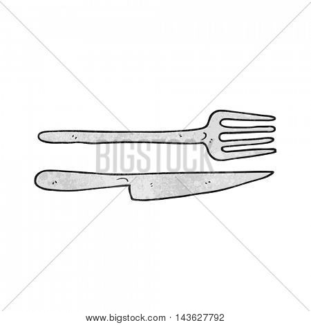 freehand textured cartoon knife and fork