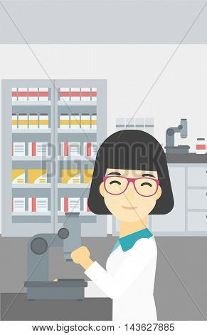 An asian female laboratory assistant working with microscope at the laboratory. Young scientist using a microscope in a laboratory. Vector flat design illustration. Vertical layout.