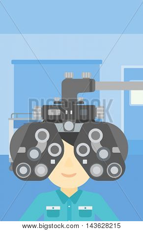Man during an eye examination. Man visiting optometrist at the medical office. Man undergoing medical examination at the oculist. Vector flat design illustration. Vertical layout.