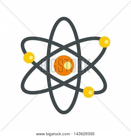 Atom with electrons icon in flat style on a white background