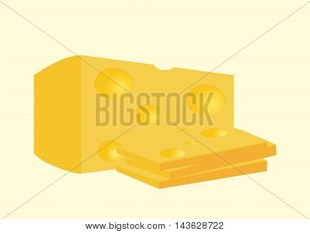 piece of cheese vector illustration on light background